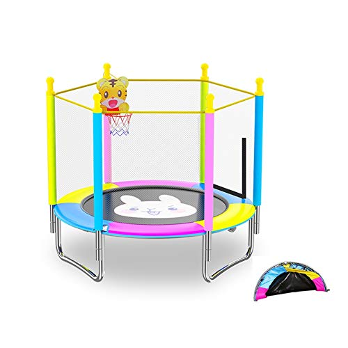 TRAMPOLINE AGYH Kid's Folding, Optional Armrests And Basketball Hoop, Indoor And Outdoor Fitness Game Toys, Diameter 120cm And 150cm Optional (Color : Style 2, Size : 120cm)