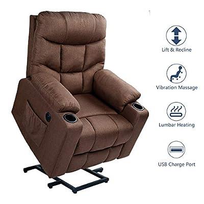 Esright Massage Recliner Chair Heated Lift Chair, Brown
