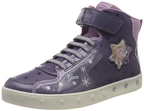 Geox J Skylin Girl B Sneaker, Dk Violet/Mauve, 31 EU