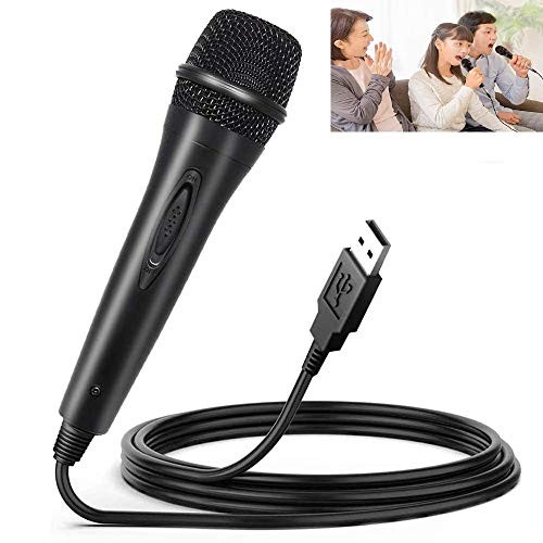 GEEMEE Wired USB Microphone for Nintendo Switch/Wii U/ PS4/ Xbox One/Xbox 360/PC, 3M/10ft Universal USB Microphone Compatible with Rock Band, Guitar Hero, Karaoke Singing Games