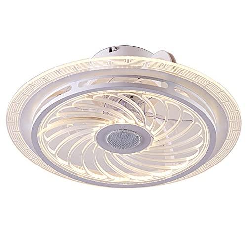 ZHBD Ventilador De Techo De 20'con Lámpara, Lámparas De Ventilador con Música Inteligente De Altavoz Bluetooth, Regulable con Control Remoto, Lámpara De Techo De Cocina Moderna De Dormitorio