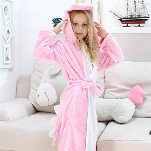 Kinder Jungen Bademäntel Strandtuch Enfant Nachtwäsche Hoodie Bademantel Kinder Bademantel für Mädchen Polyester-Pink-5-12