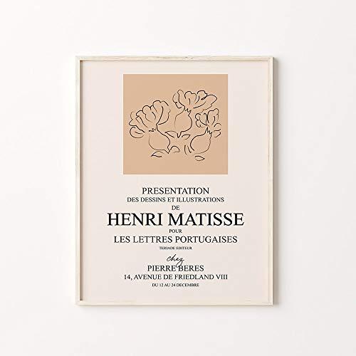 Póster de exposición de Matisse, pintura abstracta, lienzo, arte de pared, imagen artística, pintura decorativa sin marco para el hogar, B 60x90cm