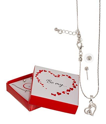 Out of the Blue 711073 - Geschenkset mit Halskette und Ohrringen, Forever und Love, 4 fach sortiert, in Geschenkbox