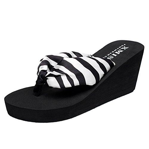 YOUJIA Mujeres Chanclas Verano Cuñas Zapatos de Playa Satín Boho Plataforma Zapatillas Estampado