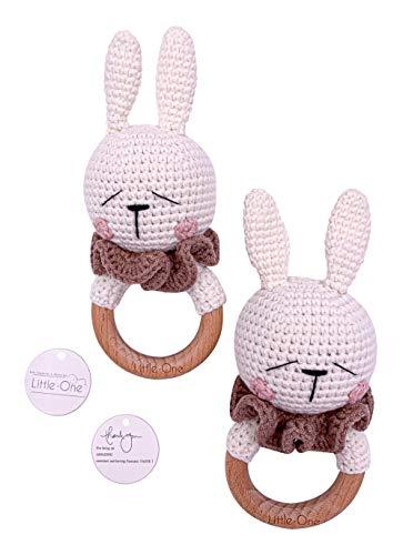 Little One Designer Greiflinge| Handmade Bio Neugeborenes Geschenk | Geschenk zur Geburt | Baby Party |Baby Shower | Bambi Greifling | Baby Boy | Creme Beige Blau