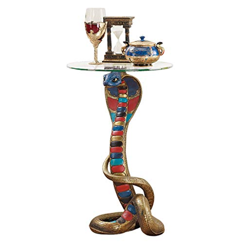 Design Toscano Renenutet Egyptian Cobra Snake Goddess Side End Table, 24 Inch, full color