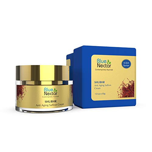 Blue Nectar Anti Aging Face Moisturizer - Natural Ayurvedic Saffron Cream for wrinkles and fine lines