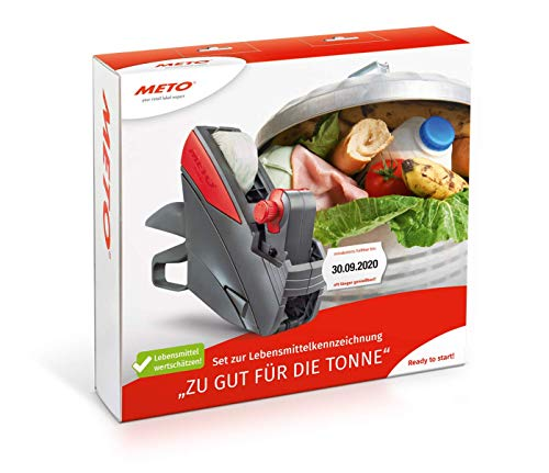 METO Set de 10 étiquettes de 26 x 16 mm pour étiquetage manuel professionnel MHD (1 ligne, 10 chiffres pour étiquettes de 26 x 16 mm, prêt à l'emploi), 1 marqueur de niveau minimal, gris/rouge