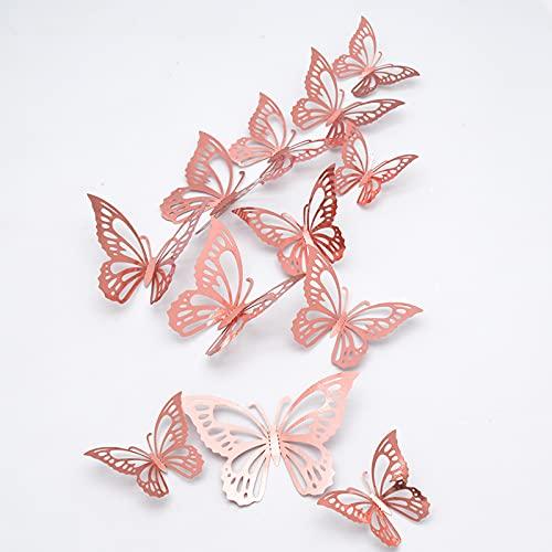 24 pcs Mariposas Decorativas 3D, CAYUDEN Extraíbles 3 Tamaños Decorativos de Pared...