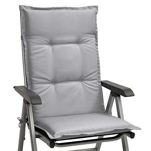Beautissu Stuhlauflage Hochlehner Gartenstuhl Base HL Sitzkissen 120x50x6cm Rückenkissen Stuhlkissen für Gartenstühle Sitzpolster Hellgrau