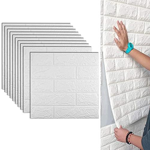 3D Papel Tapiz De Ladrillo,10 piezas Vinilo Decorativo Ladrillo Tridimensional, Auto Adhesivo Pegatinas De Pared De Ladrillo De Imitación, Para Sala De Estar Habitación Cocina Comedor