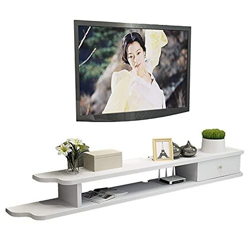 Mobile TV, TV Lowboard, Scaffali flottanti, Scaffale per componenti del supporto TV galleggiante, Scaffali del componente di stoccaggio dei supporti della console, ripiani TV da 90 110 130   150cm.