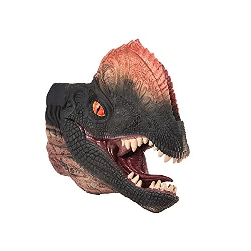ZXVC Dinosaurier Handpuppenhandschuhe Weichgummilatex Realistischer Tyrannosaurus Rex Rollenspielkopf Figur Geschenke Spielzeug für Jurassic World Kids Boys(Dilophosaurus)