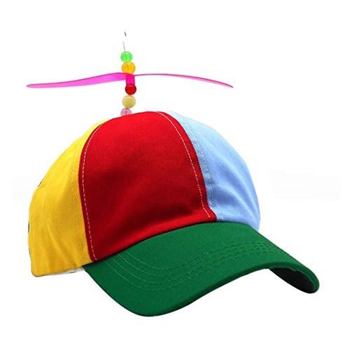 Fattigger Otros Equipos al Aire Libre, Gorra de béisbol General para Hombre y Mujer, helicóptero arcoíris, Gorra de Sol con hélices