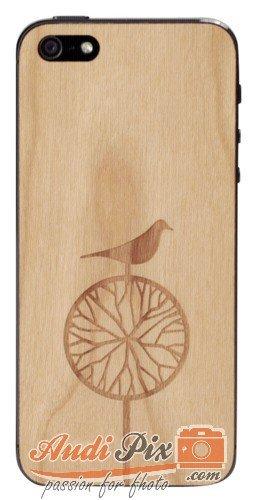 Lazerwood Treebird 21800 - Cover in Legno per Apple iPhone 5/5S, Inclusa Pellicola Protettiva per Lo Schermo, Colore: ciliegio