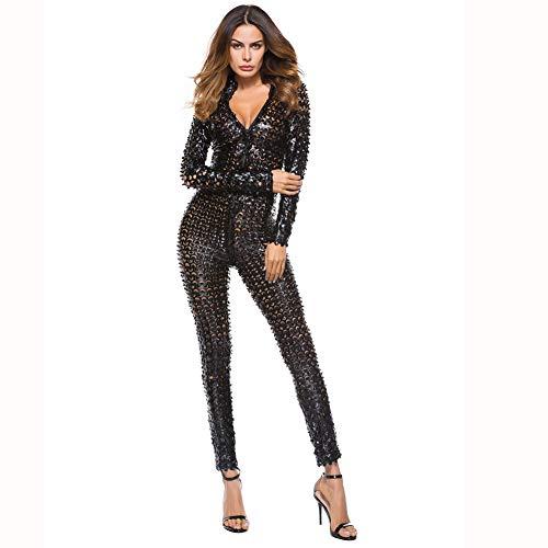 Sexy Dessous Gleichmäßige Versuchung Einteiliger Lackanzug Silber Sexy Tanzkleidung Pole Dance Bar Clubwear Run-anmy520 (Color : Black, Size : XXXXL)