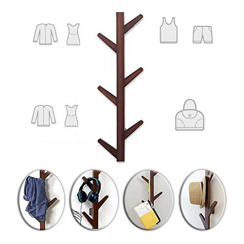 De madera Perchero decorativo de pared,Diseño de Árbol(82.5cm/32,4 in)Maciza para Colgar en el Salón o el Dormitorio pasillo Ganchos para abrigos ( Color : Brown , Size : 82.5x12.5x7cm )
