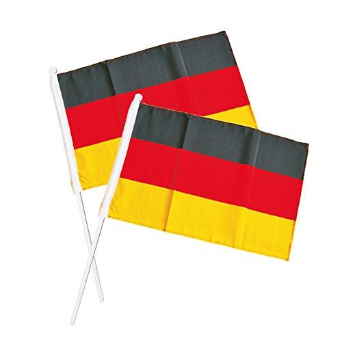 10x Fan-Fahne Design GERMANY zum Schwenken und Jubeln | ca. 45 x 30 cm + Stiel 60 cm | Deutschland-Fahne | Handfahne | Hand-Fähnchen | EM 2020 | Fußball-EM | Europameisterschaft | Fanartikel