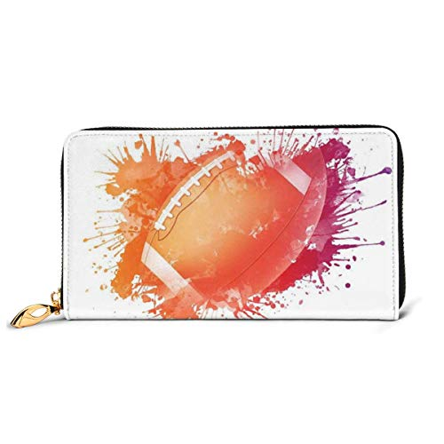 Women's Long Leather Card Holder Purse Zipper Buckle Elegant Clutch Wallet, Rugby Ball In Digital Watercolors Splash Recreational Leisure Sports Run Design Art Theme,Sleek and Slim Travel Purse