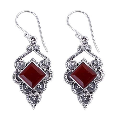 Women Vintage Faux Ruby Carving Square Drop Dangle Hook Earrings Charm Jewelry