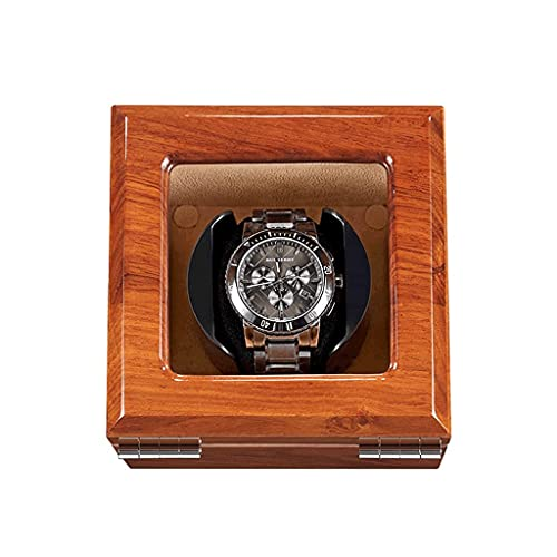 Motor de devanadera de reloj para caja mecánica automática, caja de almacenamiento de lujo de madera para 1 reloj de pulsera (color A: A)