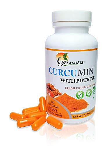 Organic Turmeric Curcumin Capsules with Piperine (Black Pepper) Supplement - powder capsules - Vegan/Vegetarian (120 Capsules) Black Pepper/Piperine for maximum absorption. Anti-inflammatory, Non GMO - More for your money.