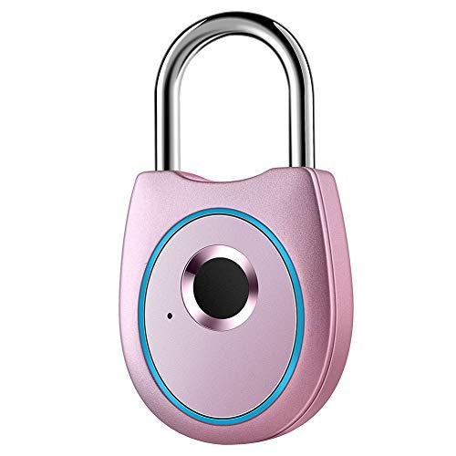 IFOLAINA Fingerprint Padlock Smart Touch Lock Metal Waterproof IP65 Anti-Theft Intelligent Keyless for Gym Locker School Backpack Suitcase Travel Luggage Pink