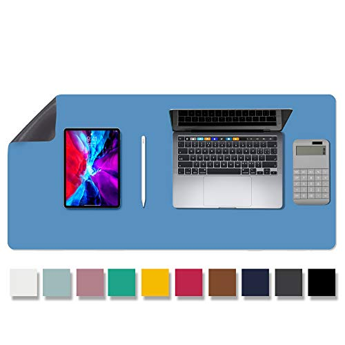 """Aothia Anti-Slip Desk Pad Blotters, Waterproof PU Leather with Non-Slip Rubber Desk Mat Protector, Large Mouse Pad Desk Writing Mat for Office/Home Use (31.5""""x 15.7"""", Light Blue)"""