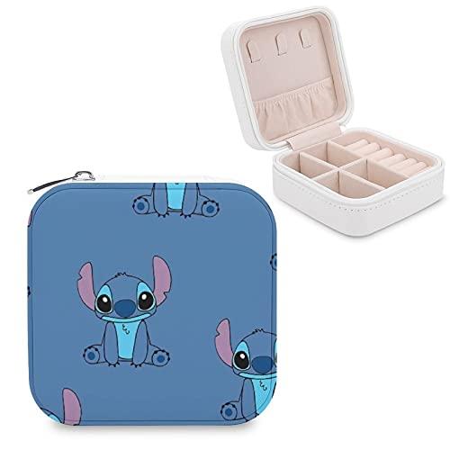 Lilo Stitch - Joyero de piel sintética para viajes, portátil, para collares, pendientes, pulseras, anillos, relojes, expositores, cajas de joyería para mujeres