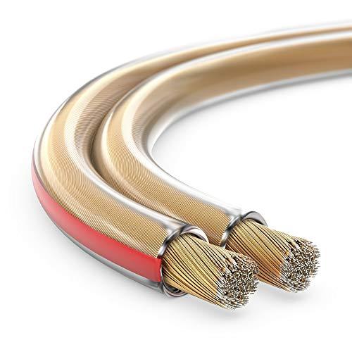 toolcity Câble d'enceinte à Double toron Transparent 2 x 2,50 mm² 100 m