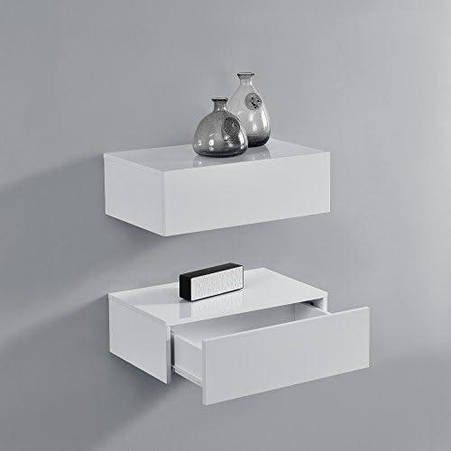 encasa 2201;tag 232;res Murales pour Chambre224; Coucher avec 2 Tiroirs Blanc Laqu 233; 46x30x15cm