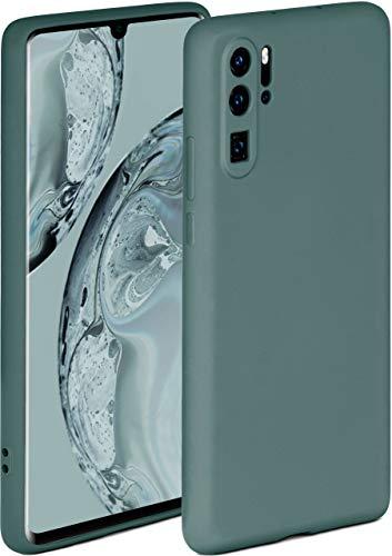 ONEFLOW Soft Hülle kompatibel mit Huawei P30 Pro/P30 Pro New Ed Hülle aus Silikon, erhöhte Kante für Displayschutz, zweilagig, weiche Handyhülle - matt Petrol