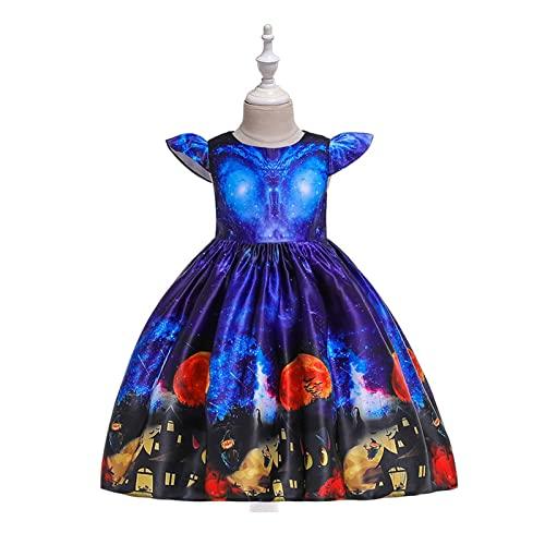 Yokbeer Vestido de Fiesta de Halloween para Nios Pequeos,Nias,Cuello Redondo,sin Mangas,Divertido Estampado de Calabaza,Vestido de Noche con Columpio Hinchado (Color : Blue, Size : L)