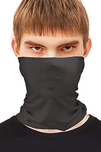 Mens Thin Bandanas Face Mask Neck Gaiter for Summer Made in USA -Dark Grey 1 Layer,One Size