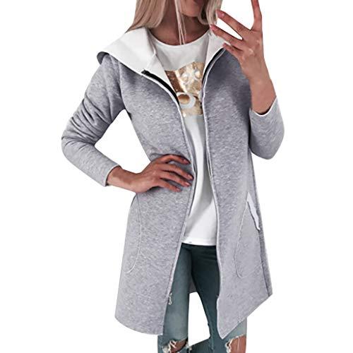 Lulupi Lange Sweatjacke mit Kapuze Damen Hoodie, Long Pullover Reißverschluss Öffnen Sweatshirt Herbst Winter Strickjacke Kapuzenjacke mit Taschen