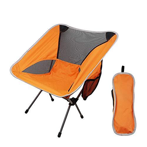 Silla de campamento plegable ligera y duradera, plegable, Chebao, plegable para acampar, al aire libre, picnic, pesca, respaldo de asiento (naranja)