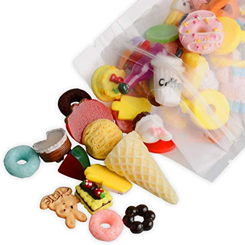 30 Pieces Slime Charms Set, Resin Flatback Buttons Beads, Assorted Shapes Fruit Candy Cake Cartoon Slime DIY Craft Scrapbooking for Art Decoration