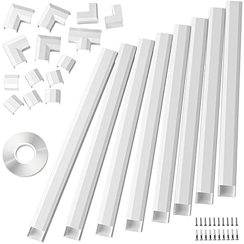 125in Cable Cover, Large Cord Cover on Wall Cable Management, Cable Raceway Kit for Mount TVs, Wire Hider Cord Management, Cable Concealer for Home Office, 8X L15.7 W1.18 H0.6 CMC-02-White