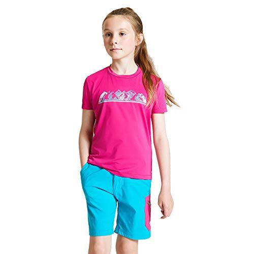 Dare 2b T- Shirt Technique Junior RIGHTFUL léger et Respirant avec propriété de séchage Rapide et Motifs réfléchissants Polos/Vests Mixte Enfant, Active Pink, FR : XXS (Taille Fabricant : 3-4)