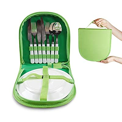Vech Camping Silverware Kit Cutlery Organizer Utensil Picnic Set - 12 Piece Mess Kit For 2 - White Plate Spoon Butter and Serrated Knife Fork Hiking - Camp Kitchen BBQ Travel