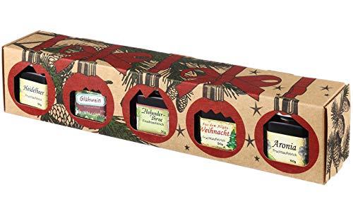 Puntzelhof Weihnachts Genuss-Box – Feinkost Geschenk-Set, 5x50g erlesener und handgemachter Fruchtaufstrich, Allgäuer Delikatessen mit Geschenkverpackung, ideal als Feinschmecker-Weihnachtsgeschenk