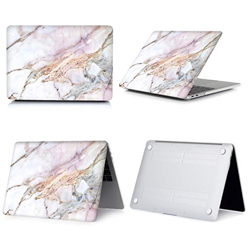 New Marble Laptop Case for Macbook Touch ID Air 13 case A1932 Pro 12 16 15 11 inch shell For Macbook Pro 13 case +Keyboard Cover-018-2020 Air 13 A2179