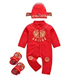 Newborn Baby New Year Onesies Tang Suit Baby Red Romper Hat Shoes Outfits(Red,80(12-18 Months))