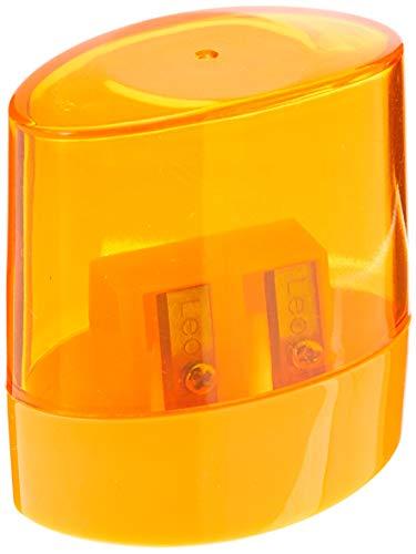 Leonora 4752, Apontador Plástico Transparente com Deposito Duplo Oval, Cores Sortidas