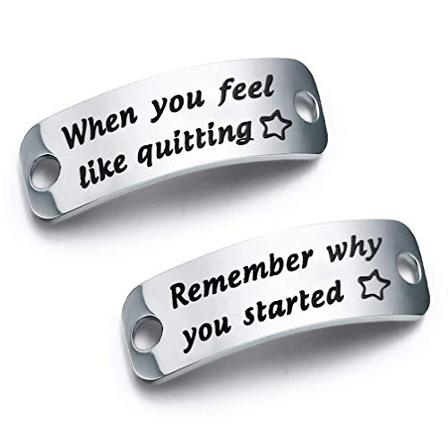 bobauna Shoe Lace Tag When You Feel Like Quitting Remember Why You Started Inspirational Trainer Tags Gift (When quitting remember started)