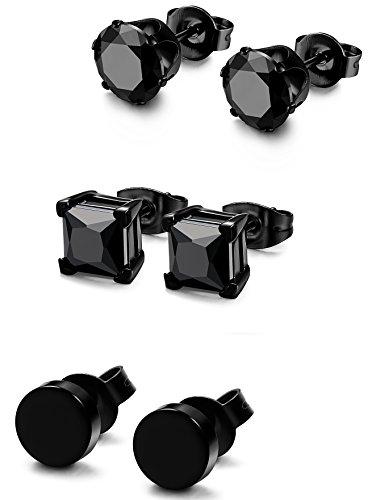 Sailimue 3 paia di acciaio inossidabile stallone nero degli orecchini per uomini donne cz orecchini, 3mm-8mm disponibili