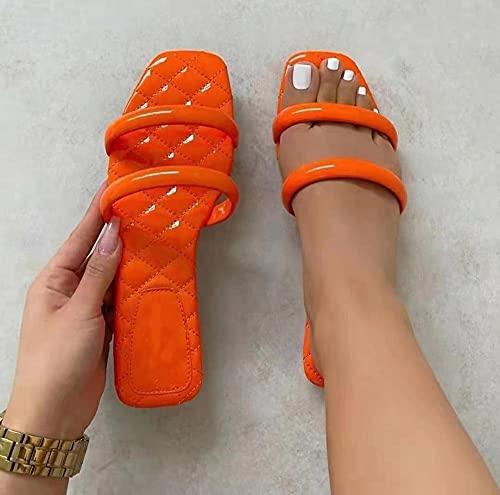 ypyrhh Sandalias de Punta Descubierta,Queridos Zapatillas Planas, Zapatos de Playa de Gran tamaño Damas-marrón_36,Sandalias deslizantes Unisex Adulto