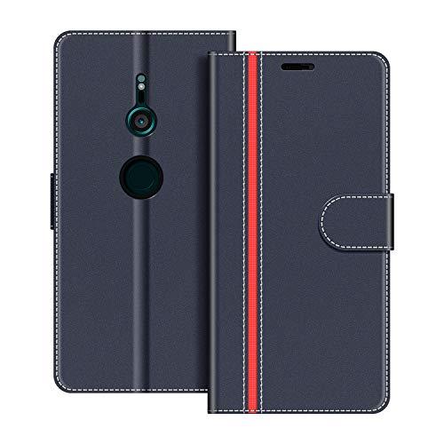COODIO Handyhülle für Sony Xperia XZ3 Handy Hülle, Sony Xperia XZ3 Hülle Leder Handytasche für Sony Xperia XZ3 Klapphülle Tasche, Dunkel Blau/Rot