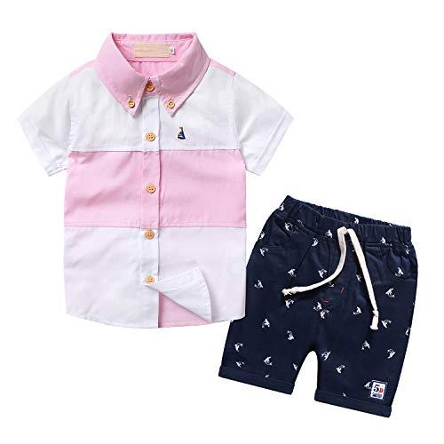 Nwada Completo Bambino Set Maglietta Righe Rosa e Pantaloncini Vestiti Estivo Abbigliamento Ragazzi Abiti 7-8 Anni Maschio
